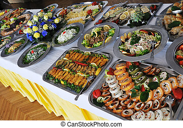 buffet catering food arangement on table