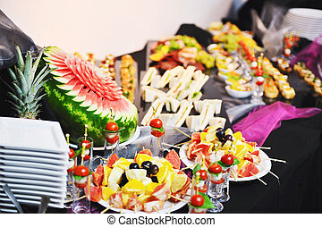 buffet food closeup - buffed food closeup of fruits, ...
