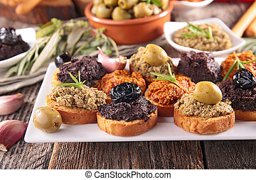 buffet food,canape with tapenade