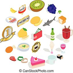Buffet icons set, cartoon style - Buffet icons set. Cartoon...