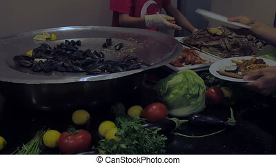 Buffet in a luxury restaurant with seafood crabs oyster crayfish. Celebration concept, food