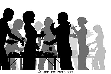 Buffet meal - EPS8 editable vector silhouettes of people...