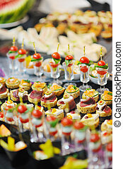 buffet, nourriture, closeup