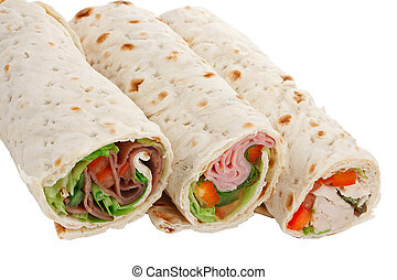 A great snack or light lunch, sliced sandwich wraps with various fillings