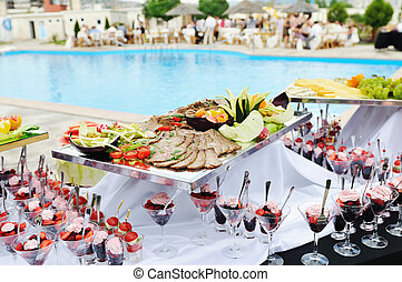 buffet outdoor - catering buffet food outdoor in luxury...