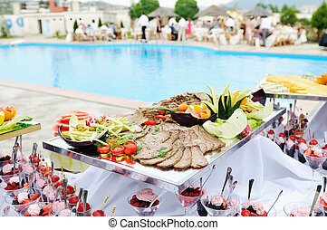 buffet outdoor - catering buffet food outdoor in luxury...