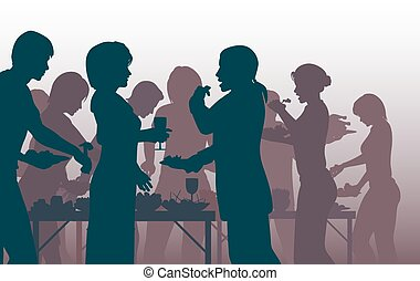 Buffet party - EPS8 editable vector illustration of people...