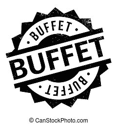 Buffet rubber stamp. Grunge design with dust scratches....