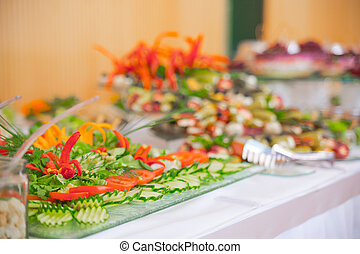 buffet, salads are on the table