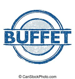 Buffet stamp - Buffet grunge rubber stamp on white...