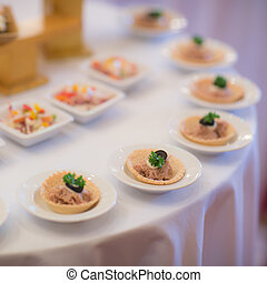 buffet, stijl, voedingsmiddelen, in, lagen, -, een, reeks, van, restaurant, beelden