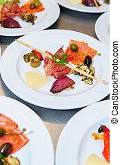 buffet, stijl, voedingsmiddelen, op, platen