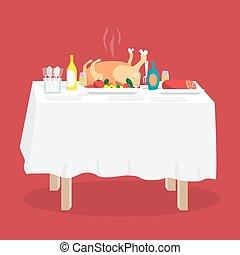 buffet, tabla, con, pavo, otro, alimento, y, drinks., caricatura, estilo, vector, ilustración, aislado, blanco, plano de fondo