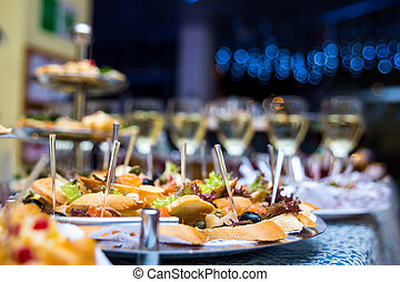 Buffet Table, Canape, Sandwiches, Snacks, Holiday Table, Sliced, Glasses,