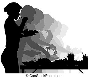 Buffet table - EPS8 editable vector silhouettes of people...