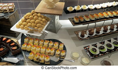 Buffet table with desserts in hotel