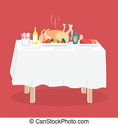 Buffet table with turkey, other food and drinks. Cartoon style vector illustration isolated on white background
