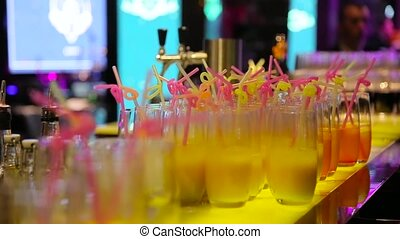 Buffet with cocktails in the bar