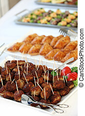 Buffet with meatballs as finger food - Appetizers and finger...