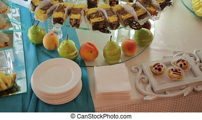 Buffet with sweets on the wedding close up