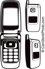 buffetto, cellphone, nero bianco