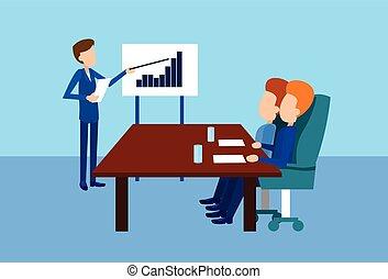 buffetto, persone, presentazione, businesspeople, riunione, ...