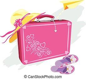 buffetto, vacanza, cappello carta, valigia, aeroplano, flops, spiaggia, fare un sogno