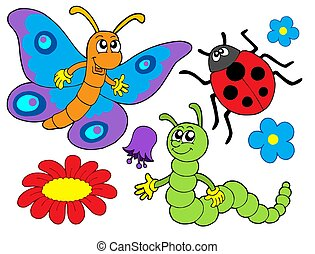 Bug and flower collection - isolated illustration.