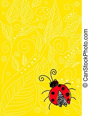 Bug - Naive art illustration of a bug on yellow ornament...