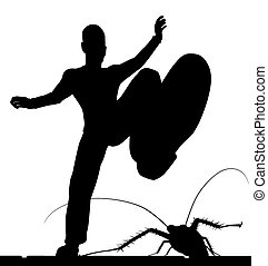 EPS8 editable vector silhouette of a man stamping on a cockroach with the figures as separate objects
