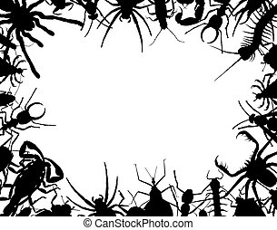 Border frame of outlines of insects and other invertebrates