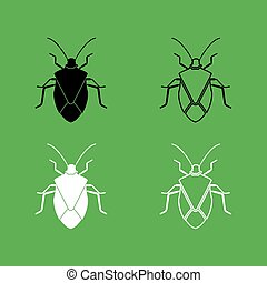 Bug icon  Black and white color set