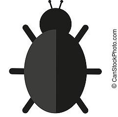 Bug icon isolated on white background. Vector illustration.