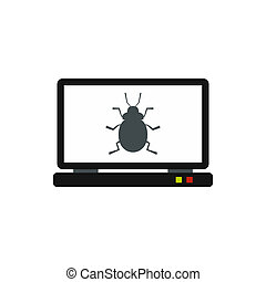Bug in computer icon, flat style