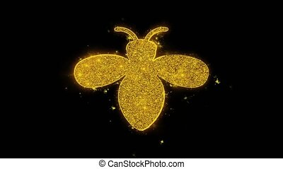 Bug, insect, nature, wasp Icon Sparks Particles on Black...