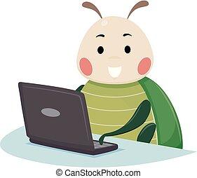 Bug Mascot Laptop Illustration