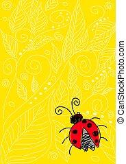 Bug - Naive art illustration of a bug on yellow ornament ...