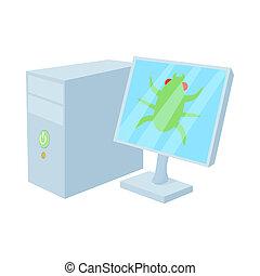 Bug on computer icon, cartoon style