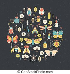 Bug Poster - Bugs and insects poster design. Circle...