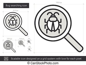 Bug searching line icon.