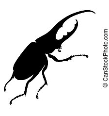 bug silhouette on white background, vector illustration