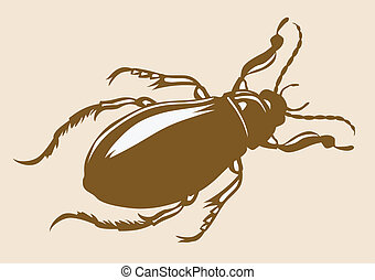 bug silhouette on yellow background, vector illustration