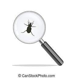 bug., verre, virus, concept, grossir