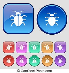 Bug, Virus icon sign. A set of twelve vintage buttons for your design. Vector