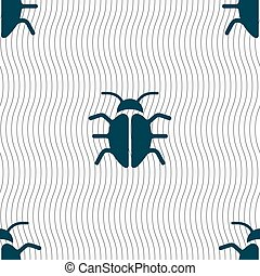 Bug, Virus icon sign. Seamless pattern with geometric texture. Vector
