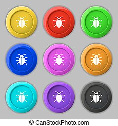 Bug, Virus icon sign. symbol on nine round colourful buttons. Vector