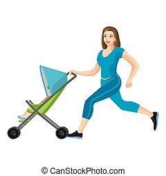 Buggy fit ultimate outdoor fitness class for mums vector illustration