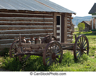 Buggy - Old rusted buggy on the western farm. Museum of the...