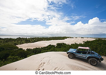 buggy tour on the big sand dune of Mangue Seco in bahia state brazi