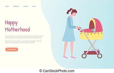 buggy, web, wandelende, vrouw, moederschap, vector